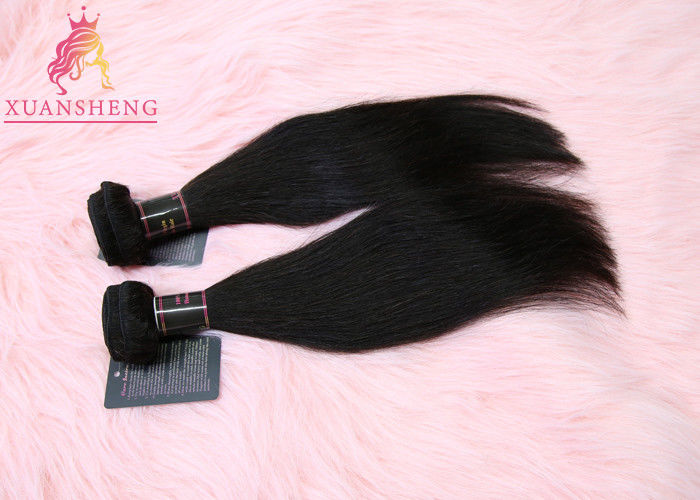 Grade 9A Virgin Indian Hair Raw / 100% Human Hair Weft Straight Black Coler