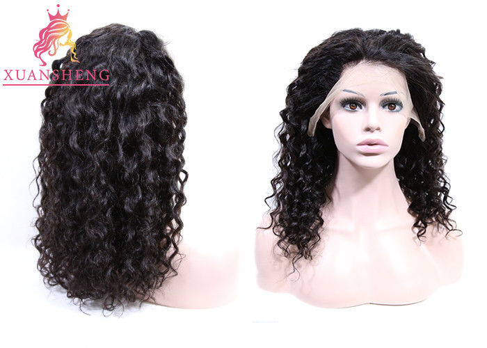 360 Lace Frontal Wig Human Hair , Virgin Indian Hair Italian Curly For Women Swiss Lace