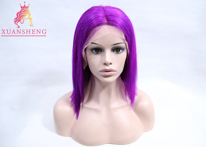 Popular Cuticle Aligned Purple Human Hair Lace Front Wig 12-26 Inch