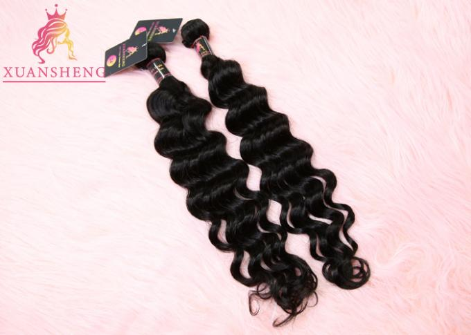 Natural Color Virgin Indian Hair / Malaysian Wave Hair Bundles Cuticle Aligned